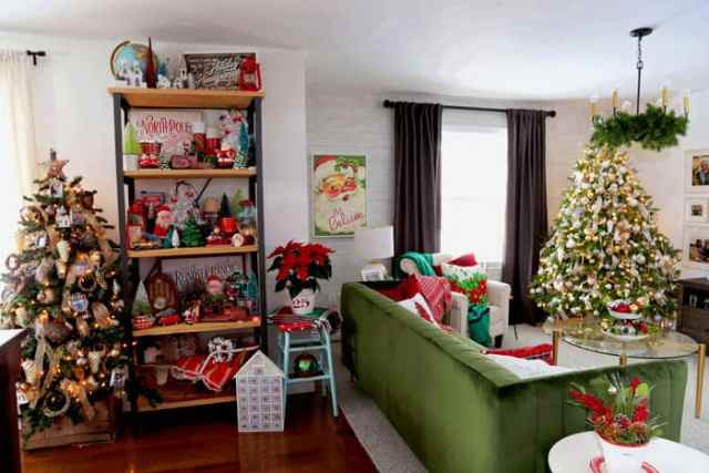 Christmas Home Decor Tour featured by top US design blog, Fynes Designs: Christmas living room open concept