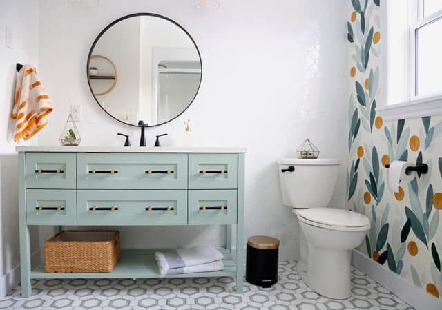Colourful Bathroom Makeover Ideas: Before and After Pictures featured by top US design blog, Fynes Designs: Modern tiled bathroom with accent wall
