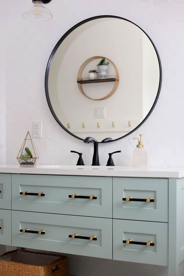 Colourful Bathroom Makeover Ideas: Before and After Pictures featured by top US design blog, Fynes Designs: mint green bathroom vanity
