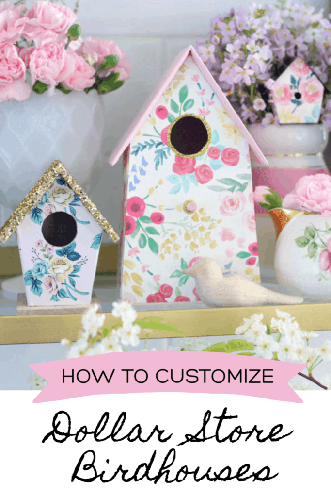 How to Customize your Dollar Store Birdhouse Kit, a tutorial featured by top craft blog, Fynes Designs. | Birdhouse Kit by popular US craft blog, Fynes Designs: Pinterest image of diy birdhouses decorated with paint, floral craft paper, and gold glitter.