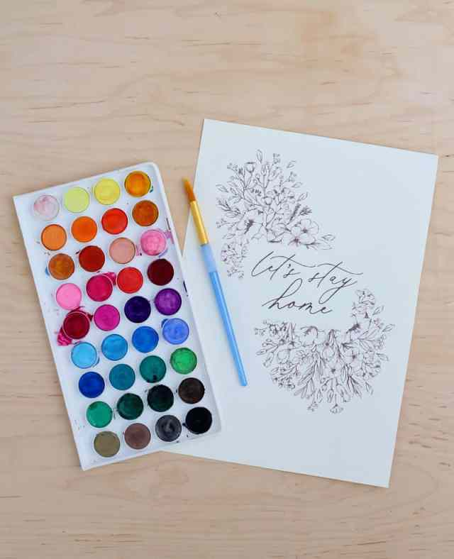 How to Print on Watercolor paper at home. 4 free wildflower art prints to try! | How to Print on Watercolor Paper by popular US interior design blog, Fynes Designs: image of watercolor paint pallet and Let's Stay Home wildflower watercolor printable.
