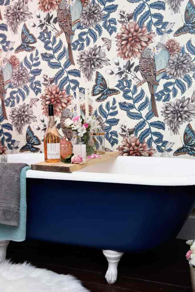 Before and After DIY Floral Weekend Bathroom Makeover featured by top DIY blog, Fynes Designs:  modern painted clawfoot tub