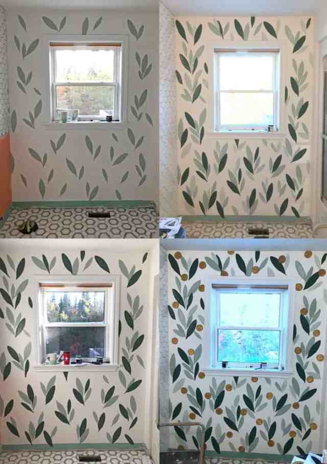 How to paint your own wallpaper mural, a step by step tutorial featured by top life and style blog, Fynes Designs: process of painting over old wallpaper | How to Paint Over Wallpaper in a Bathroom by popular US DIY blog, Fynes Designs: image of a step by step process for painting your wall.