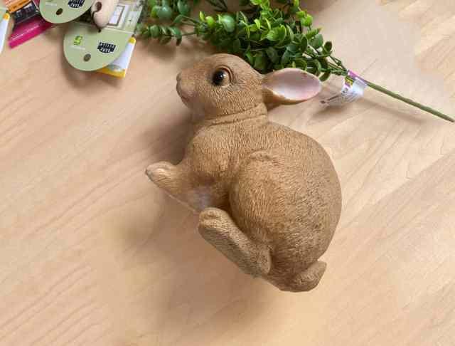 dollarstore Easter bunny   Easy Spring Wreath Idea by popular interior design blog, Fynes Designs: image of a Dollar Store bunny.