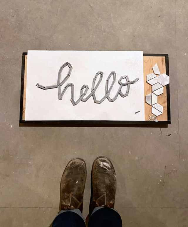 hello tile typography | Jeffrey Court Tile by popular US life and style blog, Fynes Designs: image of Bronson 9-1/2 in. x 11 in. x 8 mm Marble Mosaic Tile and hello tile typography.