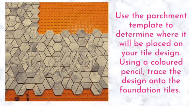 determine placement of your tile lettering | Tile Lettering by popular US interior design blog, Fynes Designs: image of a 'hello' parchment paper template placed on hexagon tile.