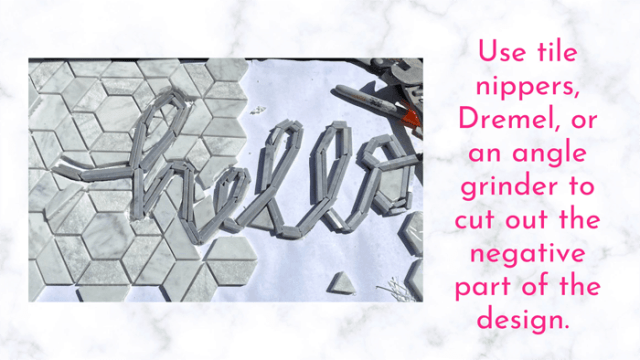 Cut the tile | Tile Lettering by popular US interior design blog, Fynes Designs: image of hello tile lettering being placed on a tile floor.