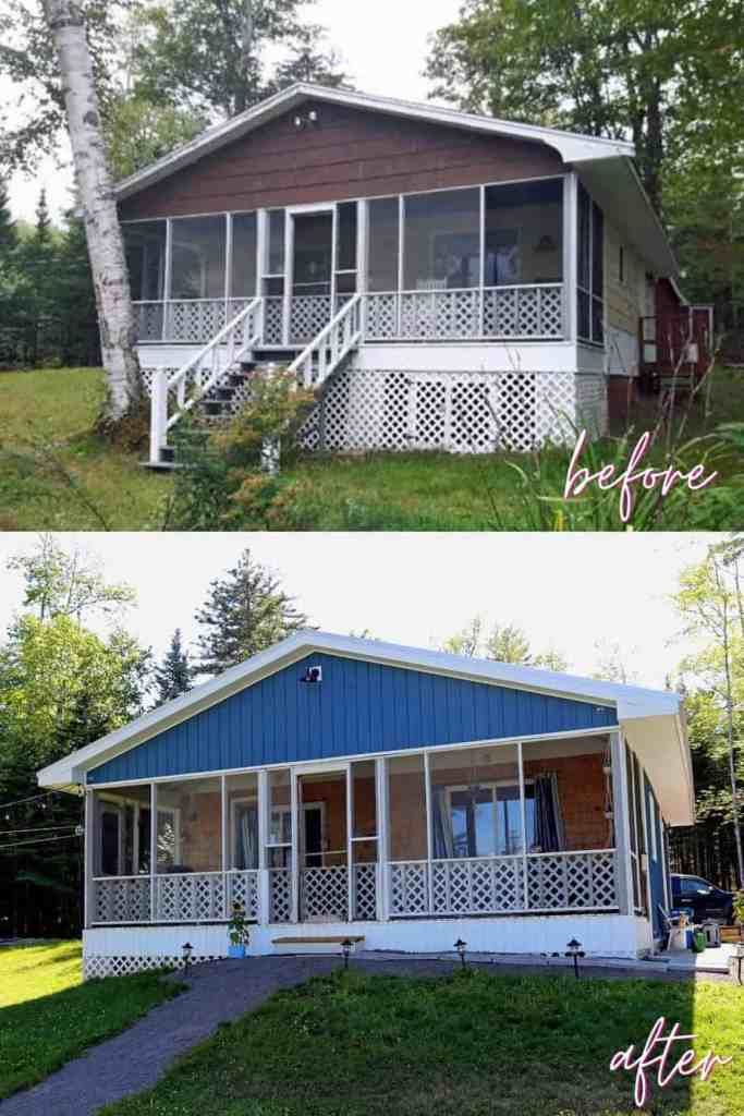 Before and After 1980s farmhouse cottage makeover |Farmhouse Cottage by popular Canada DIY blog, Fynes Designs: before and after image of a 1980's farmhouse cottage.