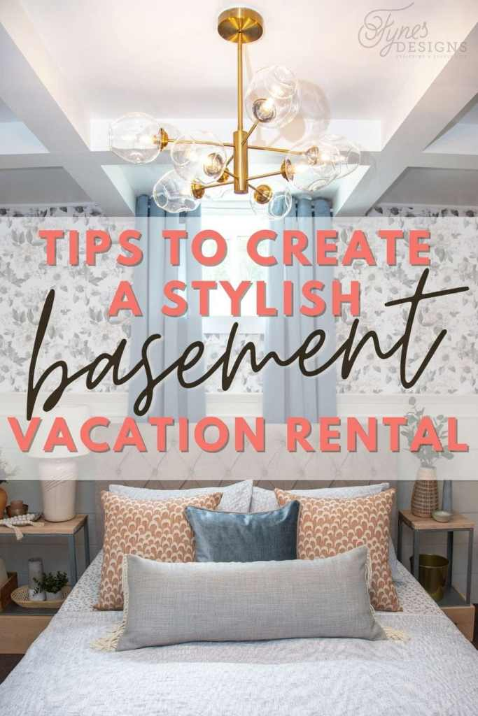 Tips to create a stylish vacation rental in your basement | Master Bedroom Design by popular Canada interior design blog, Fynes Designs: Pinterest image of a bedroom with floral wall paper, vinyl plank flooring, modern light fixture, tuft bench, and tufted bed frame.