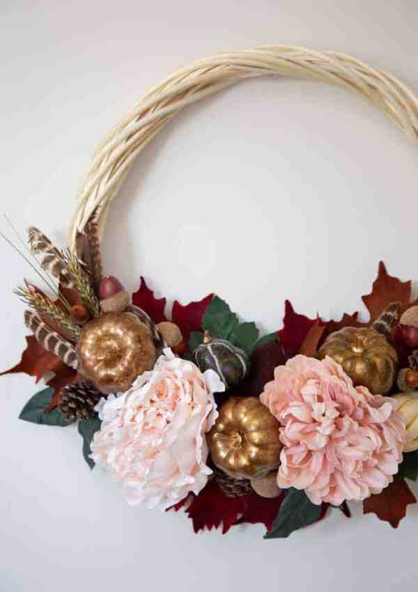 Fall Wreath Tutorial with Flowers, Golden Pumpkins, Acorns and Leaves