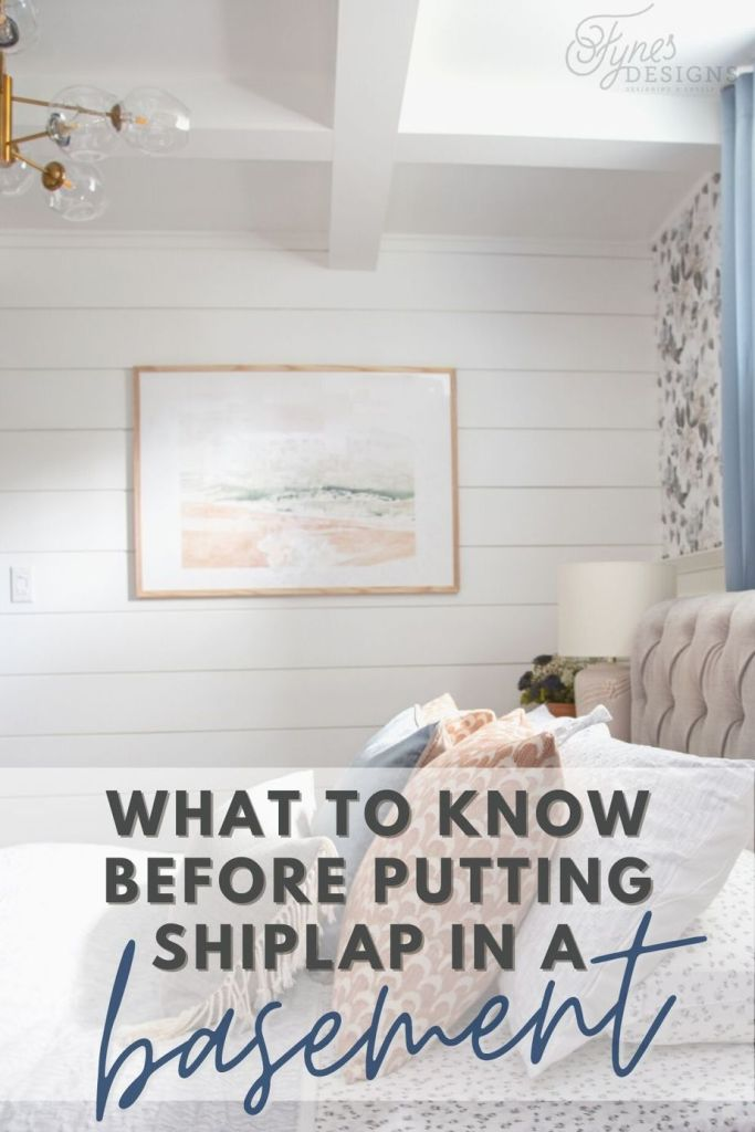 Must know tips before you put shiplap on basement walls |Shiplap Wall by popular Canada interior design blog, Fynes Designs: Pinterest image of a basement bedroom with a shiplap wall.