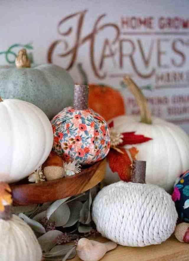 No-sew fabric pumpkins | Fabric Pumpkins by popular Canada craft blog, Fynes Designs: image of various no-sew fabric pumpkins.