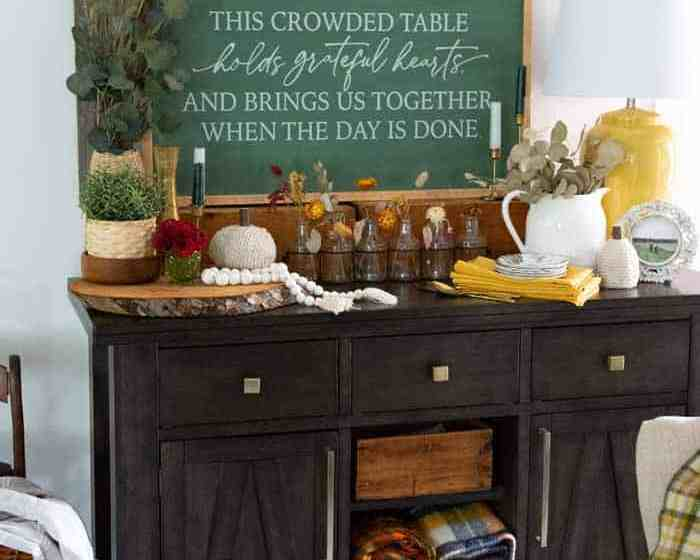 Crowded table painted farmhouse Thanksgiving decor