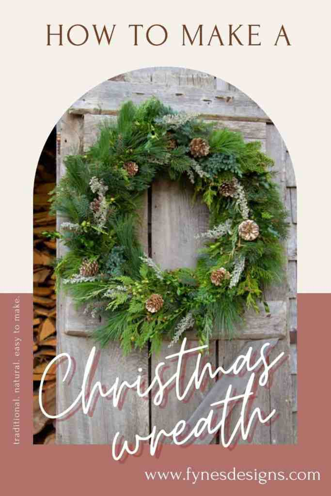 Learn to make a natural balsam fir Christmas wreath with this easy to follow tutorial | Christmas Wreath by popular Canada DIY blog, Fynes Designs