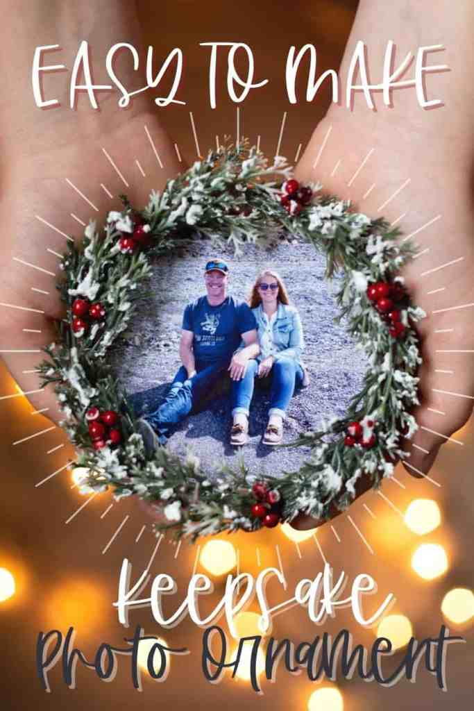 Easy to make photo ornament from an IKEA coaster |Photo Ornament by popular Canada DIY blog, Fynes Designs: image of a woman holding a photo ornament made from a IKEA coaster.