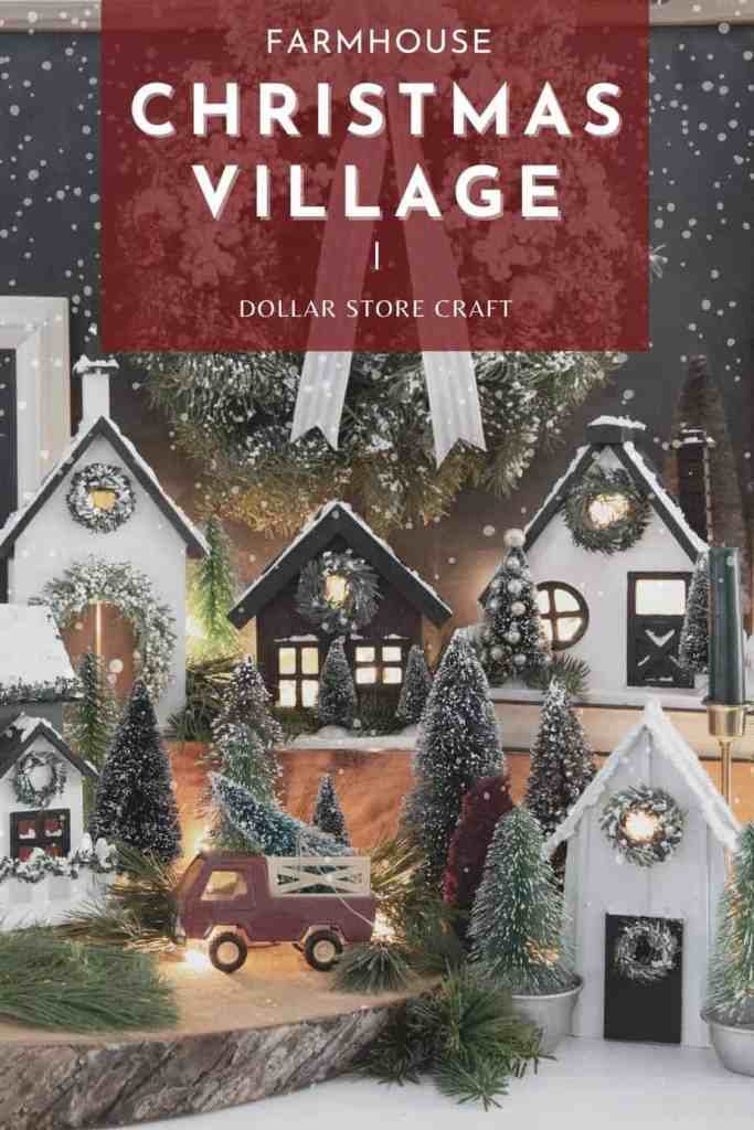 How to make a Joanna Gaines style Christmas village from a dollar store birdhouse |Christmas Village by popular Canada DIY blog, Fynes Designs: Pinterest image of a farmhouse Christmas village.