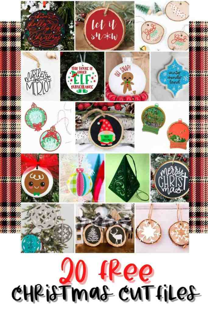 SVG Files by popular Canada DIY blog, Fynes Designs: collage image of various DIY Christmas ornaments.