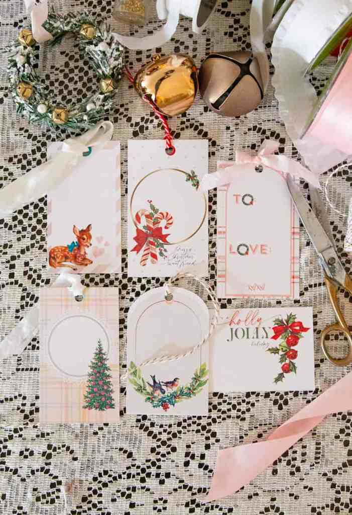 Vintage inspire printable gift tags for Christmas |Printable Gift Tags by popular Canada DIY blog, Fynes Designs: image of vintage inspired printable gift tags.