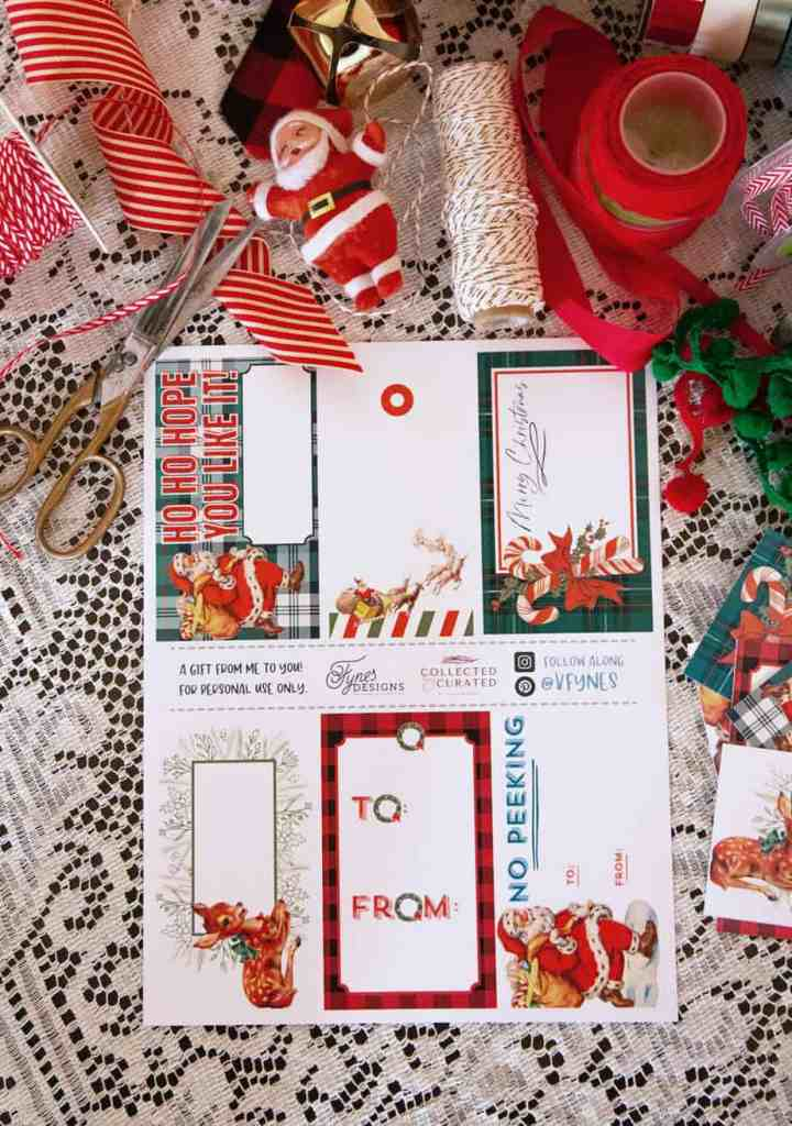 Free vintage printable Christmas gift tags |Printable Gift Tags by popular Canada DIY blog, Fynes Designs: image of vintage inspired printable gift tags.