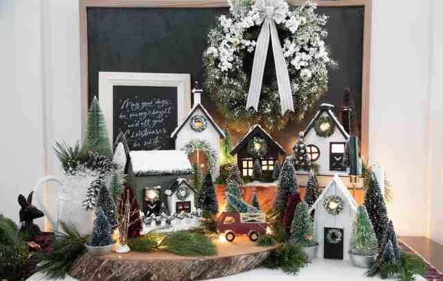 Joanna Gaines style Christmas Village |Christmas Village by popular Canada DIY blog, Fynes Designs: image of a farmhouse Christmas village.