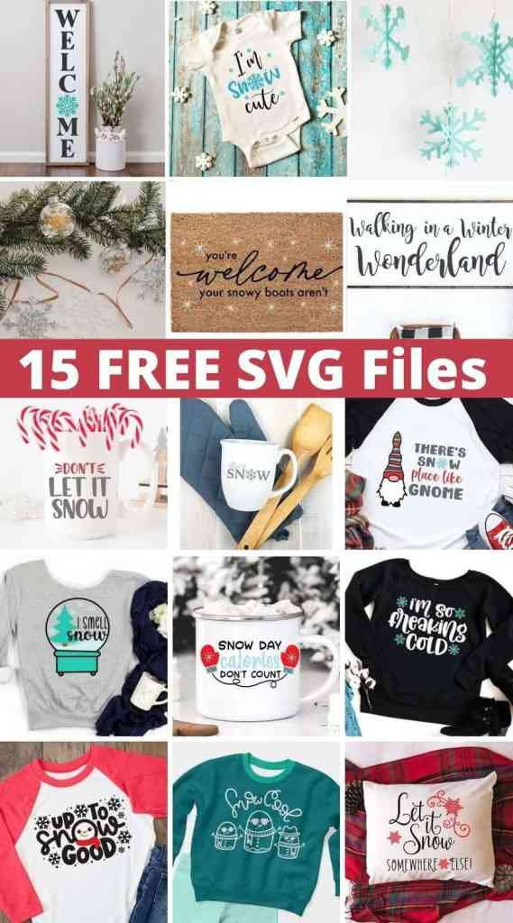 Winter Doormat by popular Canada DIY blog, Fynes Designs: collage image of SVG files.