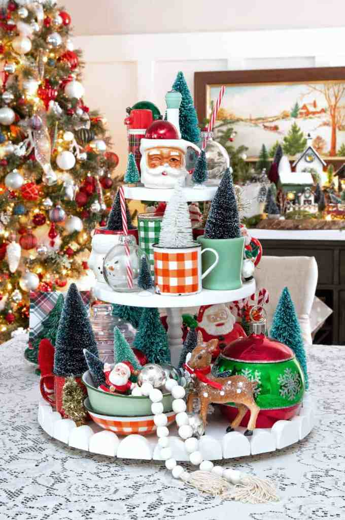 Christmas tiered tray with fun vintage decorations |Colorful Christmas Decorations by popular Canada Interior Design blog, Fynes Designs: image of a tiered tray filled with vintage Christmas decor.