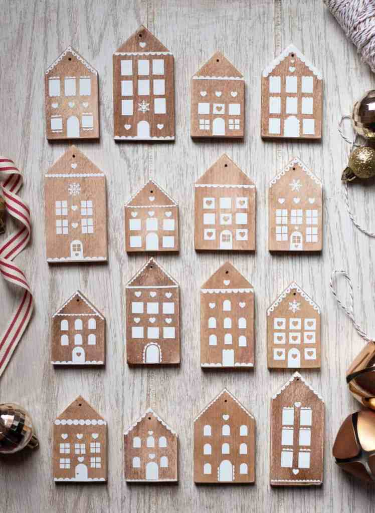 Make cute Gingerbread House wood ornaments with scrap wood