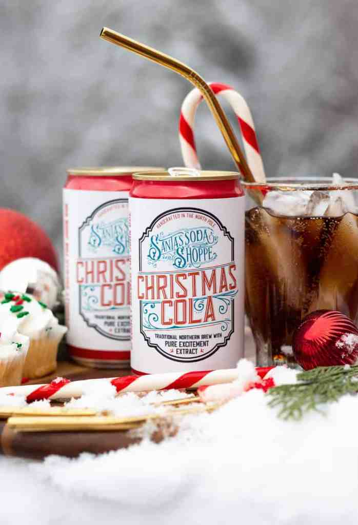 Personalized Soda Bottle Labels for a customized Christmas gift | Bottle Labels by popular Canada DIY blog, Fynes Designs: image of soda cans with personalized labels.