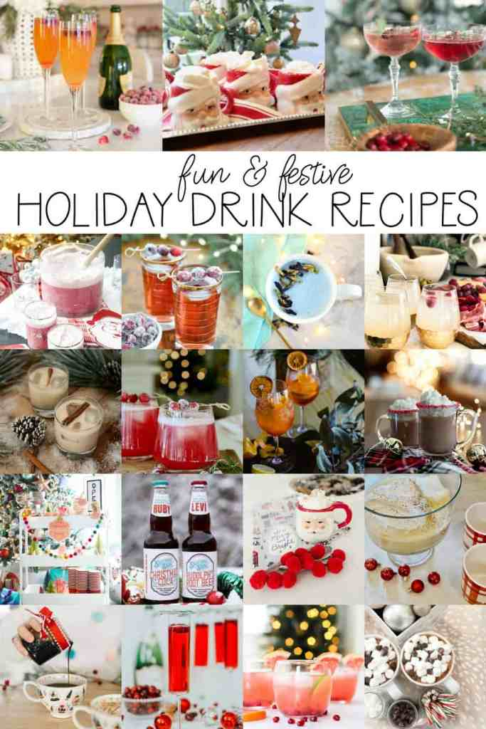 Loads of Holiday Drink Ideas |Bottle Labels by popular Canada DIY blog, Fynes Designs: collage image of holiday drinks.