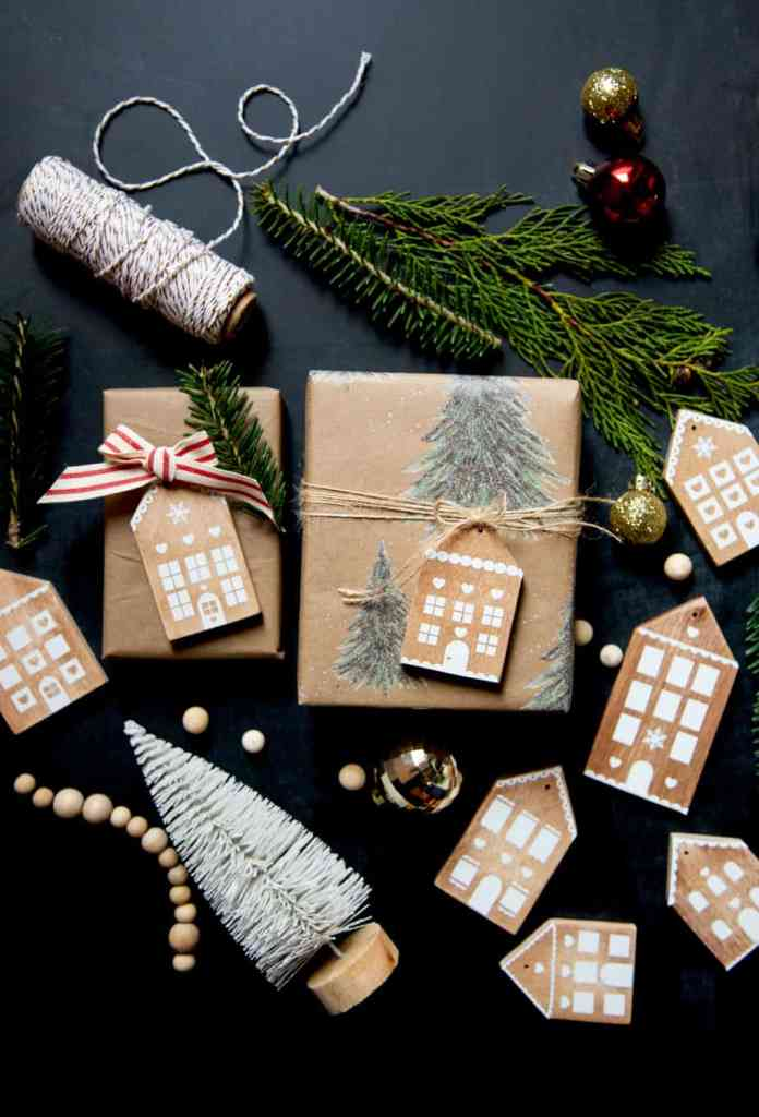 Gingerbread House Wood Ornaments made from scraps of wood and white vinyl