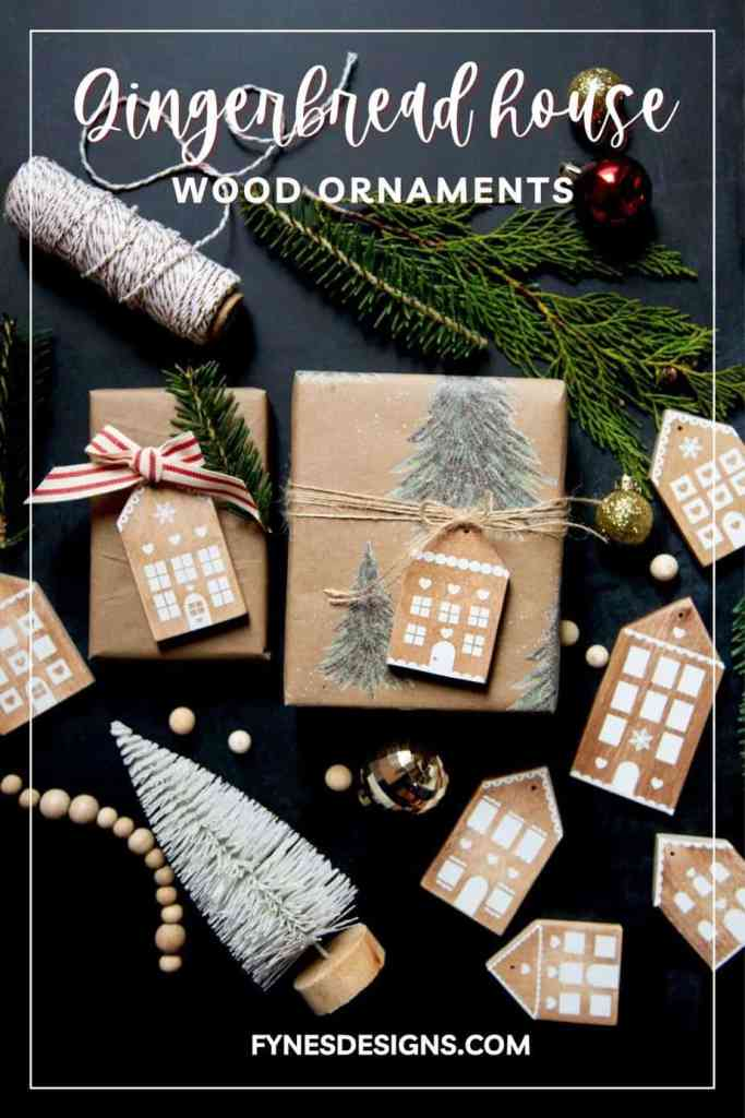 Step by step tutorial to make your own cute Gingerbread house wood ornaments for Christmas decorations.