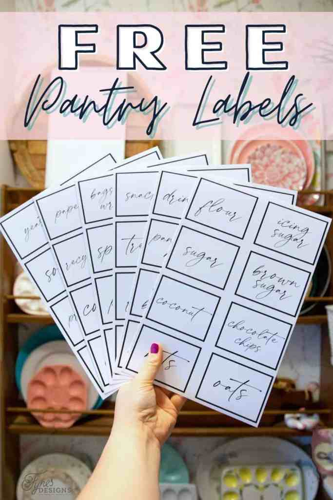 Free Printable Kitchen Pantry Labels from Fynes Designs  Pantry Organization Tips by popular Canada interior design blog, Fynes Designs: Pinterest image of modern pantry labels.
