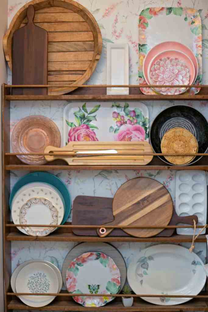 Pantry Organization Tips: a plate wall in a walk in pantry keeps things displayed and easy to grab. | Pantry Organization Tips by popular Canada interior design blog, Fynes Designs: image of a plate wall.
