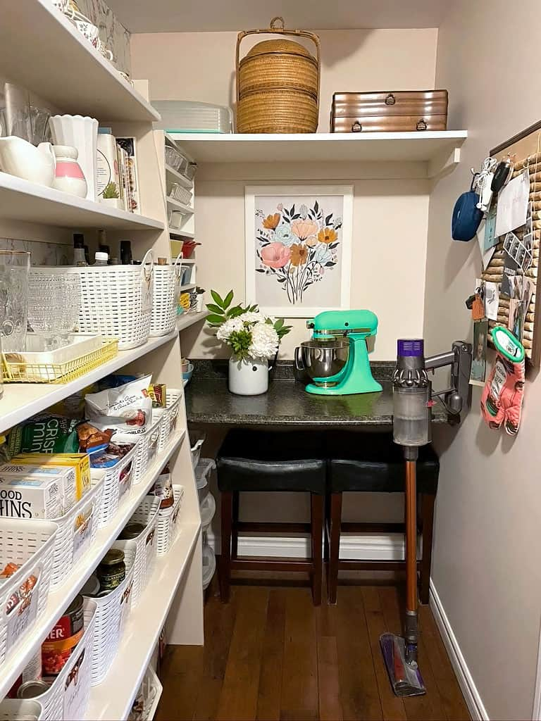 Pantry organization tips plus free kitchen pantry labels |Pantry Organization Tips by popular Canada interior design blog, Fynes Designs: image of an organized walk-in pantry with a green Kitchen Aid mixer and Dyson vacuum.