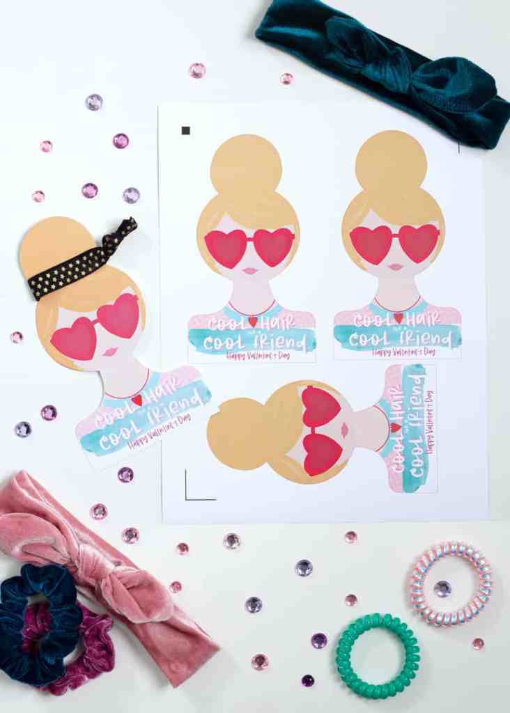 Easy Valentines Idea: Print and Cut hair tie Valentine |DIY Hair Tie Valentine by popular Canada DIY blog, Fynes Designs: image of DIY Hair Tie Valentines.