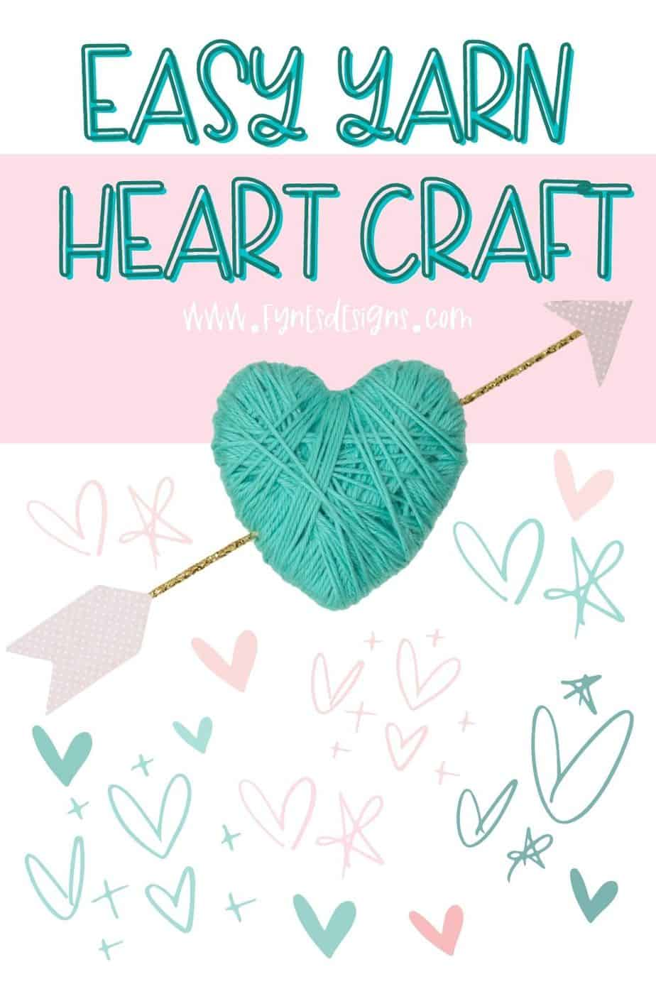 Yarn Valentines Craft for kids- Yarn wrapped Hearts