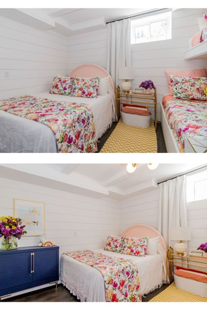 Basement bunk room ideas from designer Virginia Fynes of Fynes Designs |  Bunk Room Ideas by popular Canada home design blog, Fynes Designs: image of a basement bunk room with white shiplap wall, mid century modern chandelier, bunk beds with floral bedding, white drapes, queen bed with a pink headboard and white and floral bedding, yellow and white checked runner rug and a gold metal and glass top side table with a white basket filled with blankets resting underneath. |  Bunk Room Ideas by popular Canada home design blog, Fynes Designs: image of a basement bunk room with white shiplap wall, mid century modern chandelier, bunk beds with floral bedding, white drapes, queen bed with a pink headboard and white and floral bedding, yellow and white checked runner rug, blue dresser with large vase of fresh flowers and a gold metal and glass top side table with a white basket filled with blankets resting underneath.