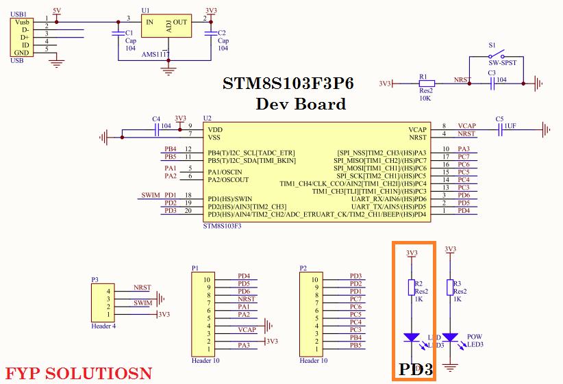 STM8S103F3P6 dev board schematic