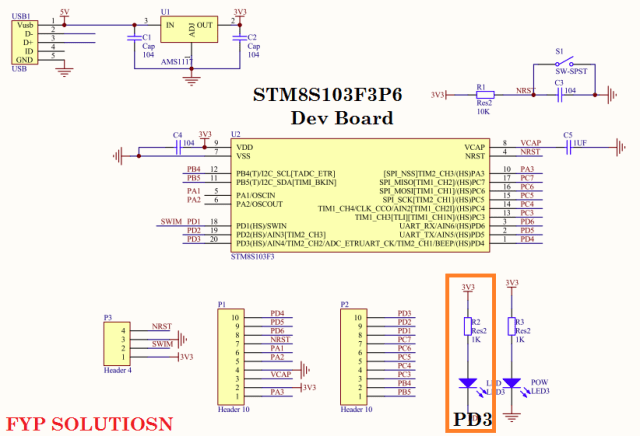 STM8S103F3P6 dev board schematic