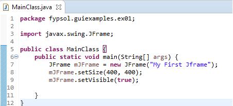 create empty jframe code