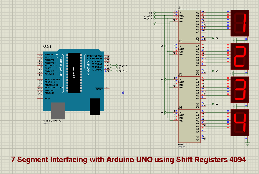 arduino 4 digit 7 segment interfacing with shift registers