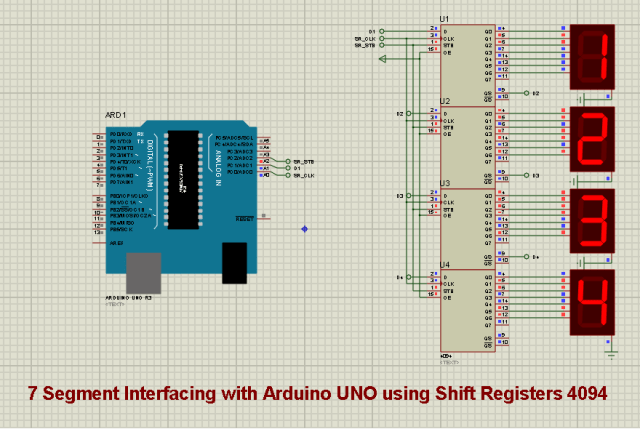 Arduino 4 digit 7 segment display using shift register 4094 Prot