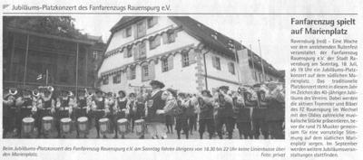 Ravensburger Stadtmagazin, 15.07.2010 Info-Wochenzeitung, 14.07.2010 Vorberichte zum Jubiläumsplatzkonzert am So, 18.07.2010 auf dem Marienplatz