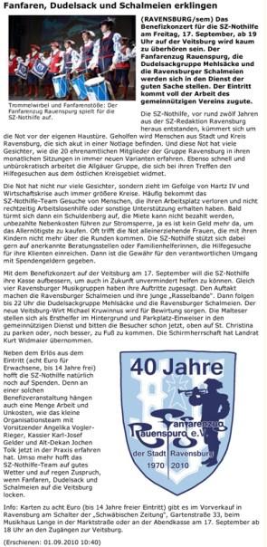 SZon ab 01.09.2010 Vorbericht zum Benefizkonzert der SZ Nothilfe