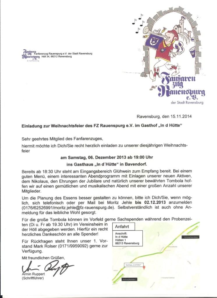 Einladung zur Weihnachtsfeier 2014