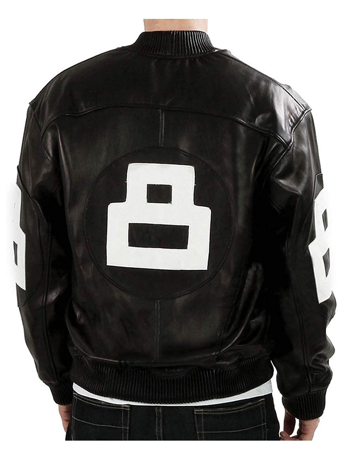 Mens Black Leather 8 Ball Bomber Jacket