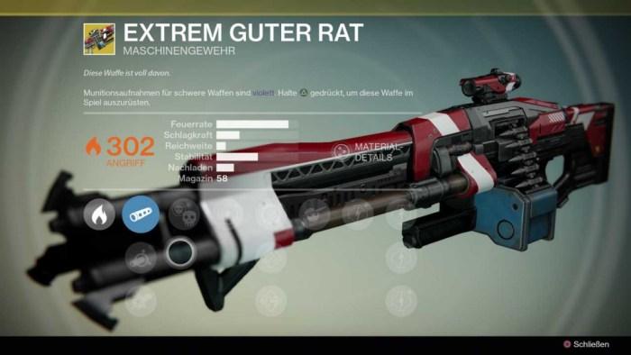 Maschinengewehr Extrem guter Rat, Bild: Screenshot Destiny
