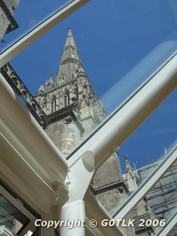 Salisbury cathedral spire seen through consevatory roof