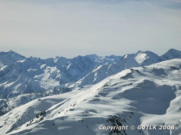 Snowy mountain peaks at altitude