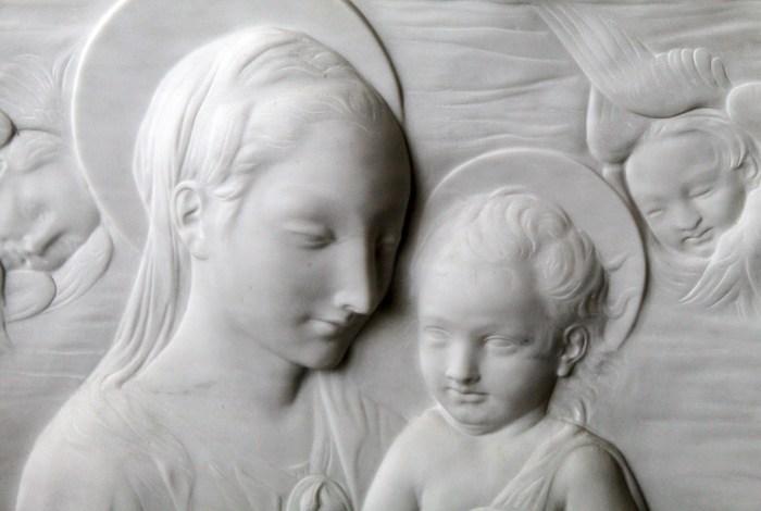 Bassorilievo Madonna con bambino - Bianco P